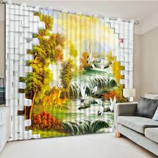 Yellow Curtains For Living Room Popular Scenery Curtains Buy Cheap Scenery Curtains Lots From