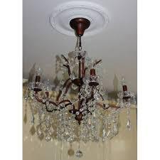 5 light glass chandelier bronze finish
