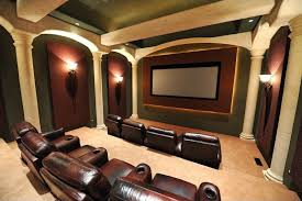 luxury home movie theaters. modern home theater with columns, exposed beam, wall sconce, carpet, ht market luxury movie theaters