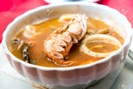 Closeup Mix Seafood Soup Pot Stock ...