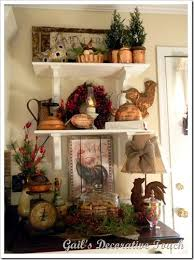 Roosters on Shelves.... showing some ideas on how to decorate ...