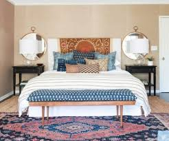 Pretty Bedroom Traditional Carpet With Gold Framed Round Mirrors For Pretty