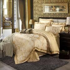 chinese retro style duvet cover set light tan beautiful peonies print linens silk cotton jacquard queen