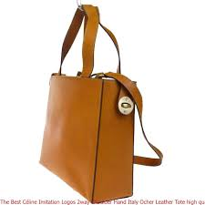 the best céline imitation logos 2way shoulder hand italy ocher leather tote high quality replica handbags china