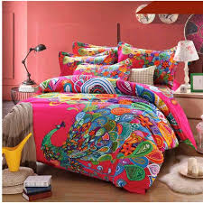bohemian peacock bedding set boho style duvet cover bedsheet queen king size bedclothes thicken soft sanded cotton bed sets 100 cotton comforter sets