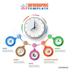 Clock Chart Template Business Modern Timeline Infographic Clock Designed For