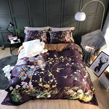 2018 brown trees leaves bed cover egyptian cotton bedding sets queen king size duvet cover sets pillowcases sheet king bedding sets on duvet covers