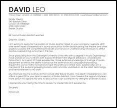 Film Production Assistant Cover Letter Studio Assistant Cover Letter Sample Cover Letter Templates Examples