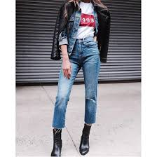 jeans denim blue jeans cropped jeans t shirt white t shirt black leather