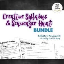 Editable Creative Syllabus Template Scavenger Hunt Bundle
