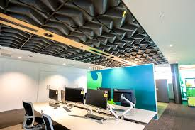 oroqi 3d acoustic ceiling tile in black cbi grid