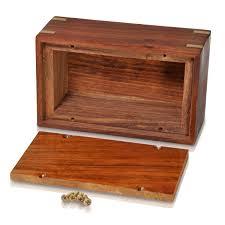 urn opening at base shown of wood pet urn