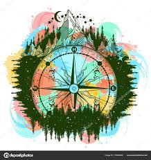 Horská Starožitný Kompas Větrná Růžice Color Tattoo Umění