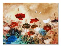 >very large living room wall art amazon  wieco art blooming poppies extra large contemporary colorful flowers pictures paintings on canvas wall art modern
