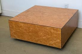 Floating Coffee Table Milo Baughman 1970s Floating Burl Wood Square Modern Coffee Table