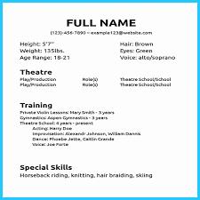 Theater Resume Example Professional Acting Gorgeous Design Ideas