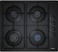 bosch pop6b6b80 built in gas hob 60cm 4 burner tempered glass black