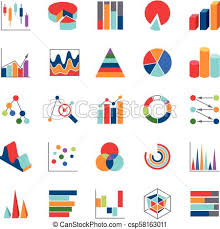Market Trends Business Data Charts Icons Stats Money Graphs And Bar Simple Vector Symbols