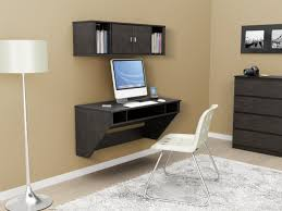 luxury home office ideas with wall mount computer desk and floor lamp stand