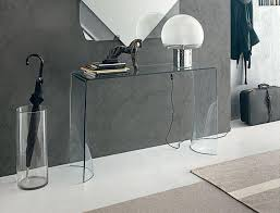 glass console table in hall