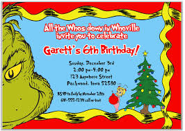Christmas Birthday Party Invitations Grinch Christmas Birthday Party Invitations