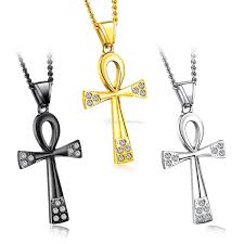 whole stainless steel egypt ankh key of life necklaces egyptian bling rhinestone cross pendant necklace for men s hip hop jewelry rose gold necklace