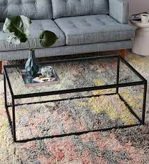 coffee table with black metal frame