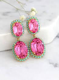 pink chandeliers pink turquoise earrings mint pink earrings swarovski chandelier earrings pink turquoise chandeliers bridal earrings