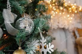 Decorative Disco Ball Interesting Decorative Disco Ball Closeup Decorated Christmas Tree On Blurred