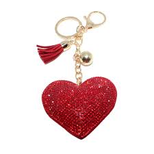 Red Heart Gold Lobster Clasp Keychain