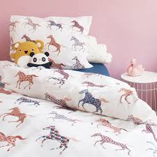 horses duvet set white single