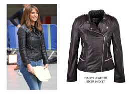 the ever stylish alex jones wraps up effortlessly during rehearsals with a subtle stitched detail leather jacket again the wardrobe staple has been
