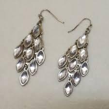 forever 21 white crystal chandelier earrings preloved women s fashion jewelry on carou