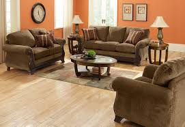 Living Room:Dark Brown Furniture And Light Orange Colored Walls To Decorate  Living Room Idea