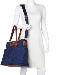 Adrienne vittadini Navy Quilted Laptop Tote in Blue   Lyst & Gallery Adamdwight.com