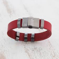 modern red leather wristband bracelet from brazil red space