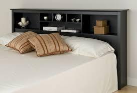 black bed with white mattress also modern headboard shelves ideas
