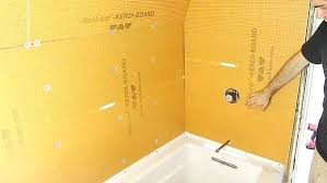 picture of install board on the plumbing wall kerdi shower installation pan instructions waterproof a in