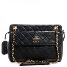 chanel vintage bag. this is an authentic chanel vintage lambskin shoulder bag in black. stylish chanel