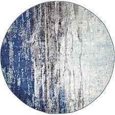 naveros oriental round rug blue