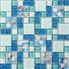 sea blue glass shell resin chips beach style green aqua le crystal mosaic wall decor
