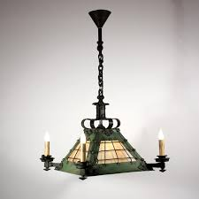 sold large antique arts crafts eight light iron chandelier with slag glass