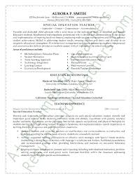 Resume Objective Section Sample Special Education Teacher Resume Sample