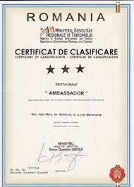 hotel ambassador  certificate of classification restaurant
