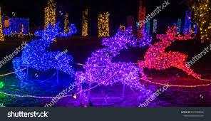 Silverton Oregon Garden Lights Christmas Holiday Lights Decorations Garden Near Stock Photo