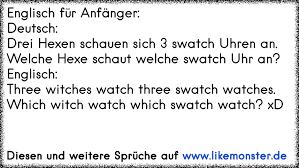 Englisch Für Anfängerdeutschdrei Hexen Schauen Sich 3 Swatch Uhren