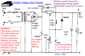 power supply and power control circuit diagrams circuit schematics 1a variable regulated power supply