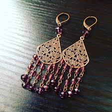 amethyst crystal chandelier earrings in antique copper brass 25
