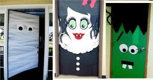 Cute and horrifying, open doors to all the drama. Halloween door decoration  DIY
