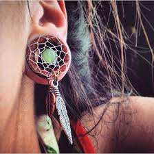 Dream Catcher Tunnels Bohemian DreamCatcher Tunnels for Stretched Ears Sizes 4040 1